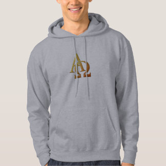 """Golden """"3-D"""" Alpha and Omega Symbol Hoodie"""
