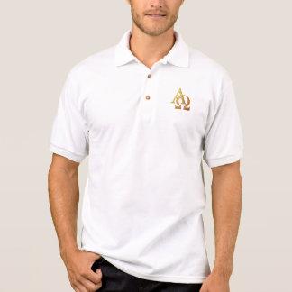 "Golden ""3-D"" Alpha and Omega Symbol Polo T-shirt"