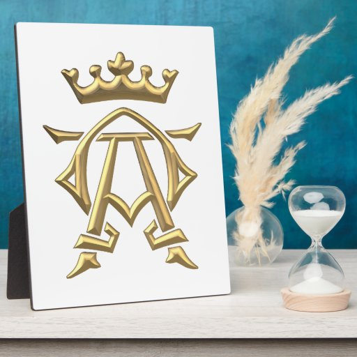 "Golden ""3-D"" Alpha and Omega w/Crown Symbol Display Plaque"