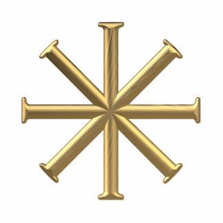 """Golden """"3-D"""" Baptismal Cross Standing Photo Sculpture"""