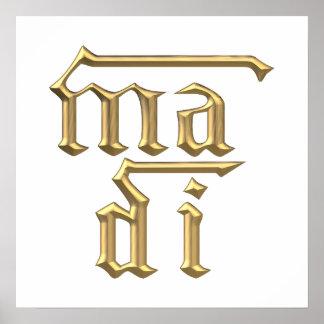 Golden 3-D Mother of God Ma Di Symbol Print