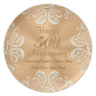 Golden 50 Wedding Anniversary Plates Personalised