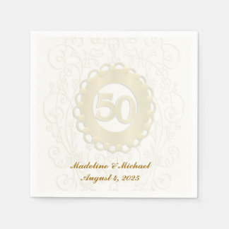 Golden, 50th Anniversary Disposable Napkins