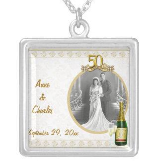 Golden 50th Anniversary Photo Pendant