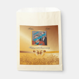 Golden 50th Anniversary Wedding Photo Template Favour Bag