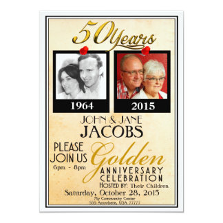 Golden 50th Wedding Anniversary Invitations