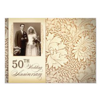 "golden 50th wedding anniversary photo invitations 5"" x 7"" invitation card"