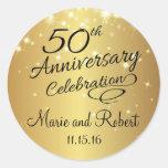 Golden 50th Wedding Anniversary Round Sticker