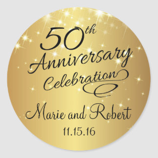 Golden 50th Wedding Anniversary Round Sticker
