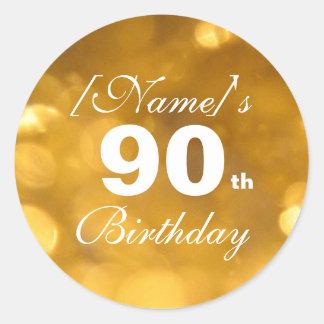 Golden 90th Birthday Sticker