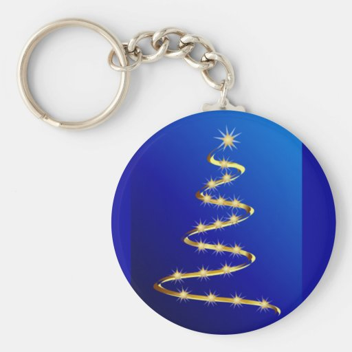 Golden Abstract Christmas Tree Keychains