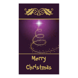 Golden abstract Christmas Tree on glowing purple Business Card Template