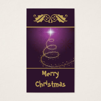 Golden abstract Christmas Tree on glowing purple Business Card