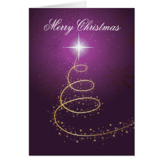 Golden abstract Christmas Tree on glowing purple Greeting Card