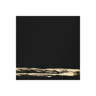 Golden Abstract Painting Black Strokes Art Canvas Print
