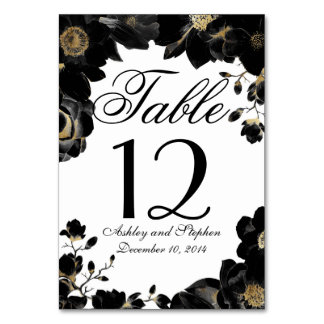 Golden Accented Black Floral Table Numbers