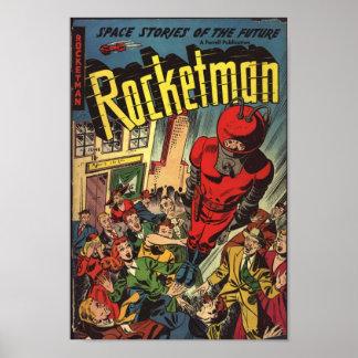 Golden Age Comic Art - Rocketman Poster