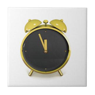 Golden alarm clock ceramic tile