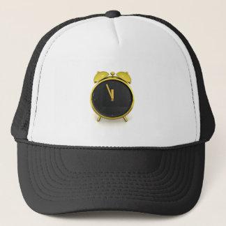 Golden alarm clock trucker hat