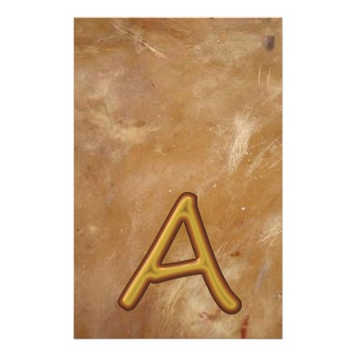 Golden Alphabet A AA AAA : Vintage Base Personalized Stationery