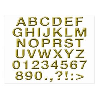 Golden Alphabet Postcard