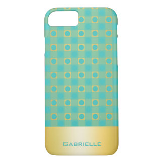 golden an turquoise checkered pattern with name iPhone 7 case
