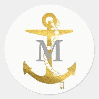 Golden Anchor | Monogrammed Classic Round Sticker
