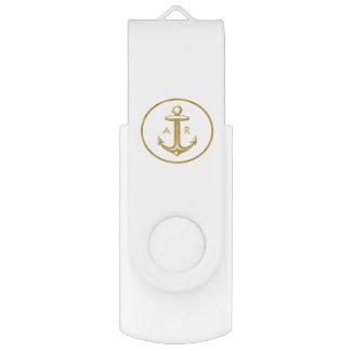 Golden Anchor | Monogrammed USB Flash Drive