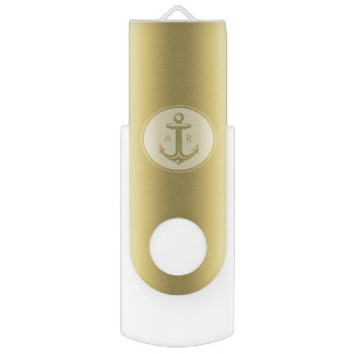 Golden Anchor | Monogrammed USB Flash Drive
