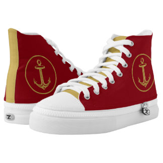 Golden anchor | Nautical Gifts Printed Shoes