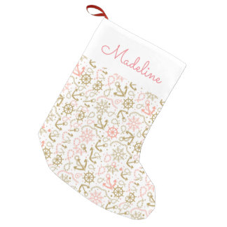 Golden Anchor Pattern | Add Your Name Small Christmas Stocking