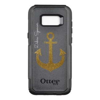 golden anchor, personalised nautical OtterBox commuter samsung galaxy s8+ case