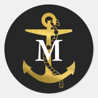Golden Anchor | White Monogram Classic Round Sticker