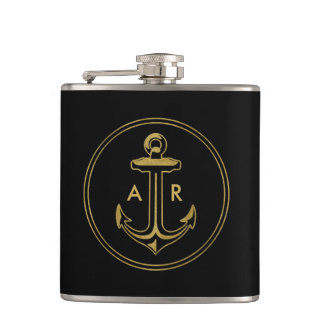Golden Anchor with initials Hip Flask