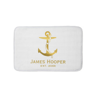 Golden Anchor with Rope | Nautical Gifts Bath Mat