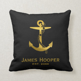 Golden Anchor with Rope | Nautical Gifts Cushion