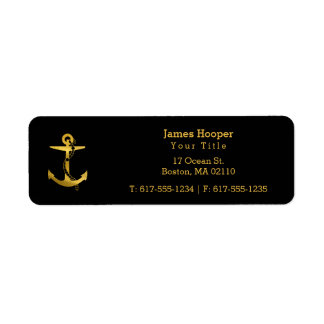 Golden Anchor with Rope | Nautical Gifts Return Address Label
