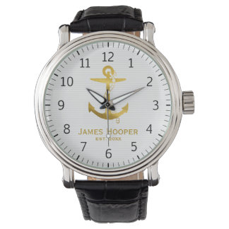 Golden Anchor with Rope | Nautical Gifts Watch