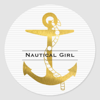 Golden Anchor with Rope | Nautical Girl Classic Round Sticker