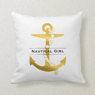 Golden Anchor with Rope | Nautical Girl Cushion