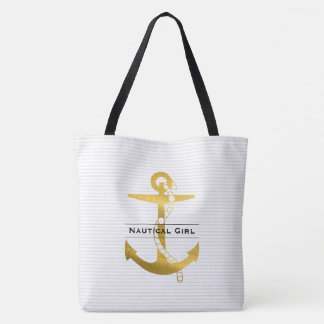 Golden Anchor with Rope | Nautical Girl Tote Bag