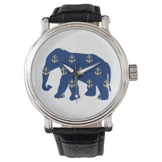Golden Anchors Elephant Watch