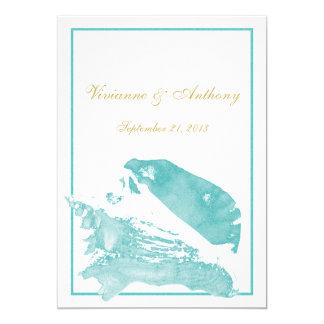 Golden and Aqua Marine Seashell Wedding Card
