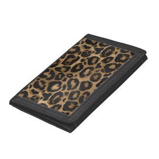 Golden and Black glitter  Leopard/ Jaguar print Trifold Wallet