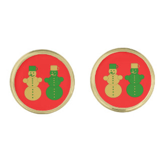 Golden and green snowmen gold finish cuff links