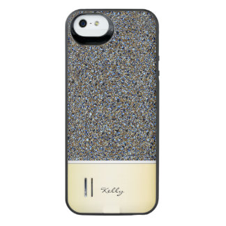 golden and navy blue glitter pattern with name