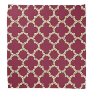 Golden and red quatrefoil pattern bandanas