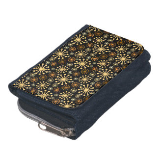 Golden and Silver Snowflakes Pattern Wallets