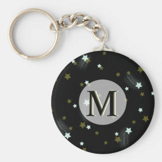 Golden and White falling Stars with Monogram Key Ring
