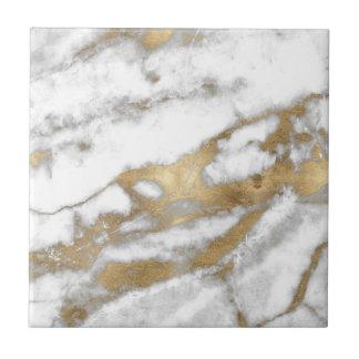 Golden and White Marble Ceramic Tile